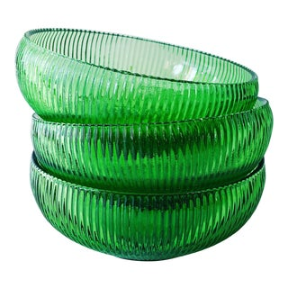 Vintage E.O. Brody Green Depression Glass Bowls - Set of 3 For Sale