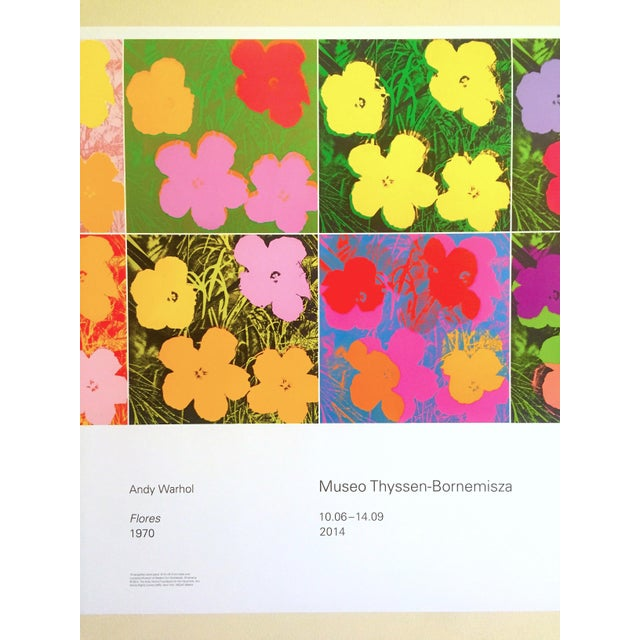 """Illustration Andy Warhol Foundation """" Myths of Pop """" Museo Thyssen Lithograph Print Pop Art Exhibition Poster """" Flowers """" 1970 For Sale - Image 3 of 13"""