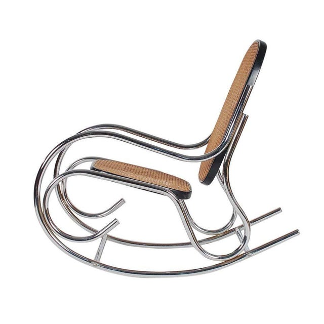 Mid-Century Modern 1970s Mid-Century Scrolled Chrome and Cane Rocking Chairs - a Pair For Sale - Image 3 of 10