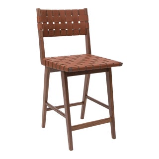 Smilow furniture walnut and leather strapped seat/back bar stool For Sale