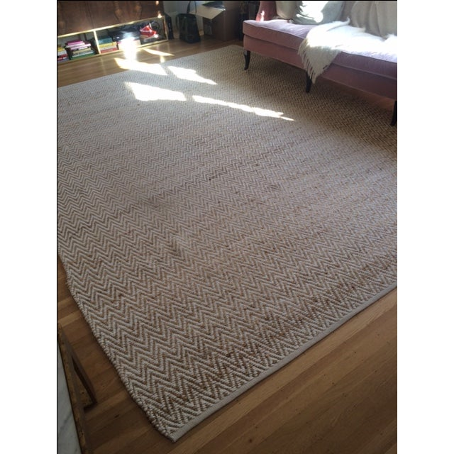Chevron Rug in Beige and White - 9′ × 12′ - Image 5 of 9