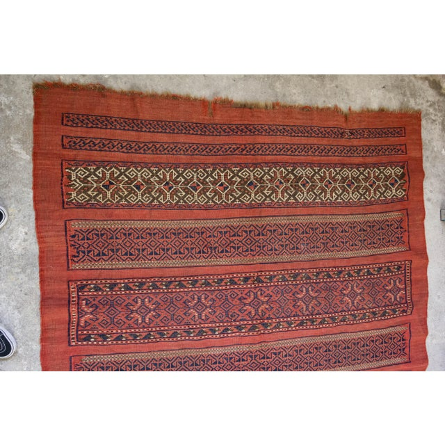 "Vintage Turkish Aztec Print Rug - 5'1"" x 5'3"" - Image 3 of 8"