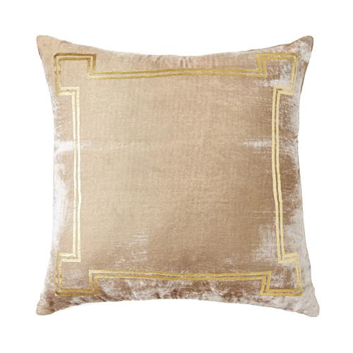 A taupe silk/viscose velvet accent pillow with gold foiling accents. This pillow is brand new and comes complete with the...