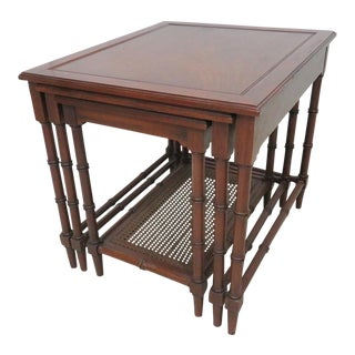 Cherry Faux Bamboo Nesting Tables - Set of 3