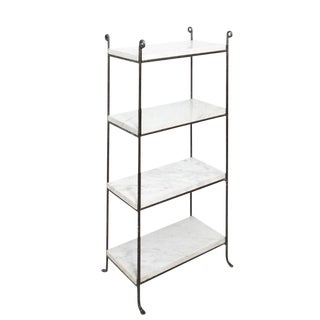 Pair of Iron and Marble Shelves For Sale
