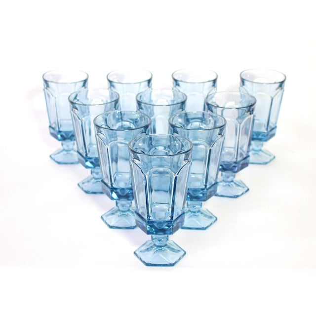 Vintage American Fostoria Pale Blue Glasses - Set of 10 For Sale In Los Angeles - Image 6 of 6