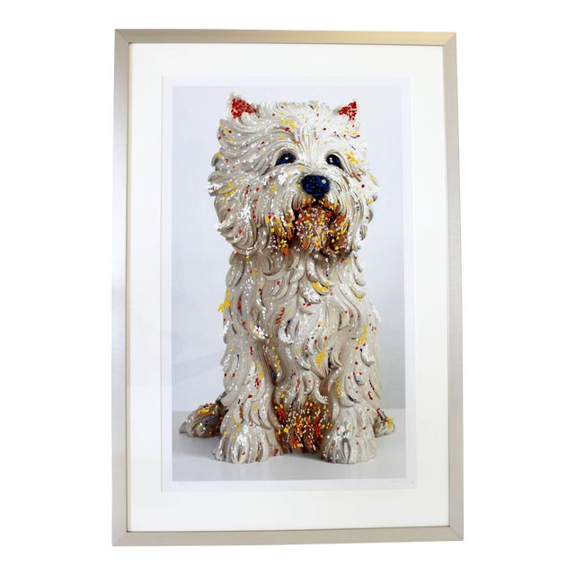 Contemporary Jeff Koons Large Framed Dog Lithograph Signed Dated 1999 59/75 For Sale