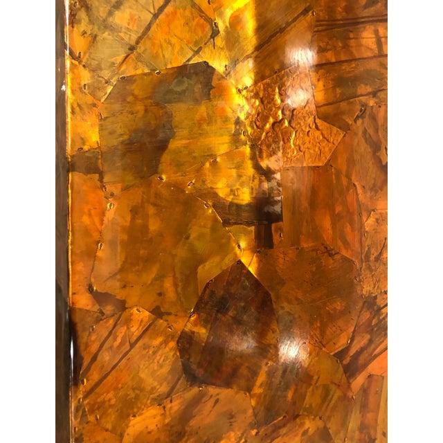 1970s Vintage Brutalist Copper Brass Mixed Metals Patchwork Lucite Bar Cart For Sale - Image 5 of 13