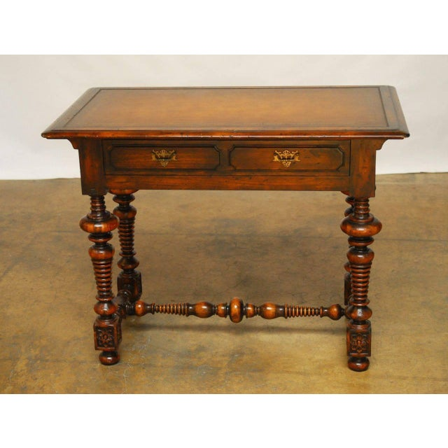 French Louis XIII Leather Top Writing Table - Image 4 of 7