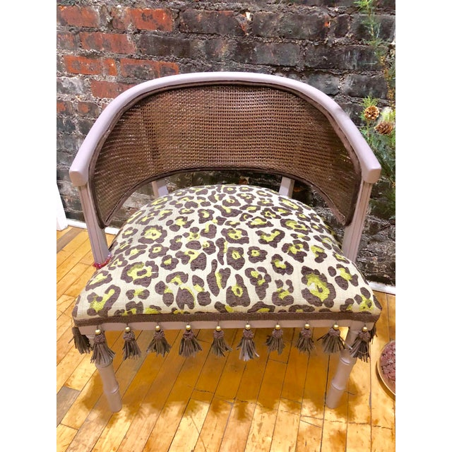 """Funky yet sophisticated piece. Painted in """"Purple Pearl"""" sealed. All brand new upholstered with fantastic pistachio&brown..."""
