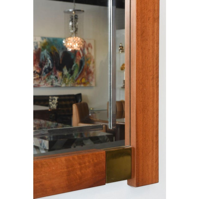 Large Italian Modern Walnut and Brass Mirror, Attributed to Giovanni Michelucci For Sale - Image 4 of 8