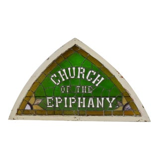 Church of Epiphany Tri Corn Stained Glass Window For Sale