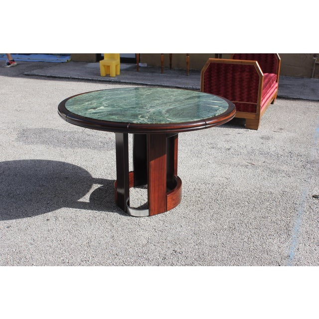 French Art Deco Macassar Ebony Round Center Table With Green Marble Top For Sale - Image 10 of 13