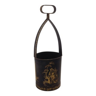 Chinoiserie Tole Painted Bottle Caddy For Sale