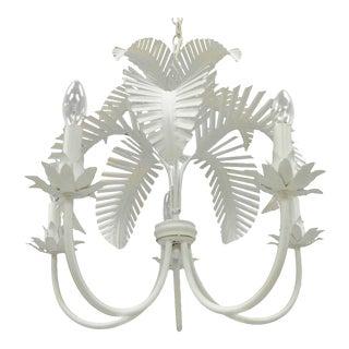 Vintage Italian White Palm Leaf Chandelier