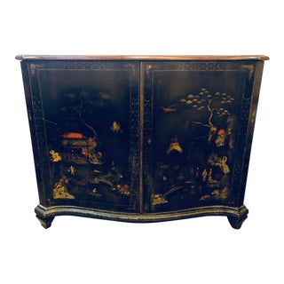Fine Custom Quality Ebony Chinoiserie Commode or Cabinet Server