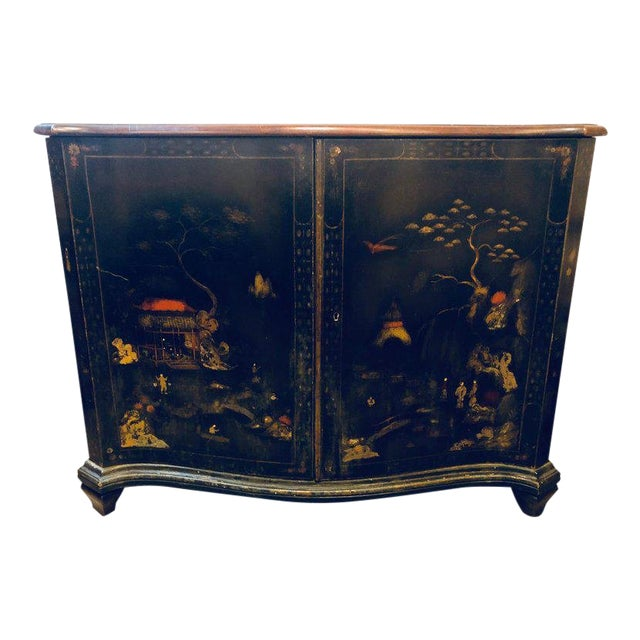 Fine Custom Quality Ebony Chinoiserie Commode or Cabinet Server For Sale
