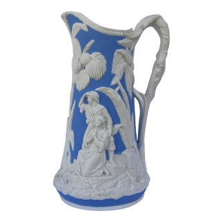 Mid 19th Century Blue & White Relief Molded Parian Pitcher For Sale