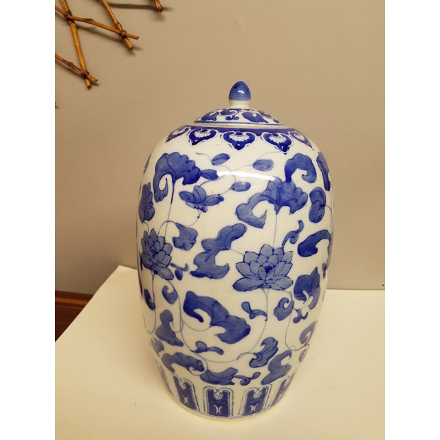 Contermporary Chinese Blue and White Ginger Jar For Sale - Image 4 of 4