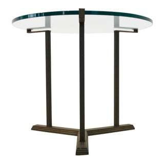 Sophisticated Peter Ghyczy Brass and Glass Side Table For Sale