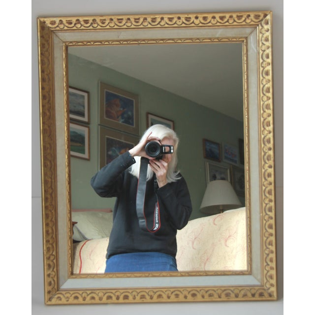 Florentine Mid-Century Gold and White Framed Mirror - Image 2 of 4