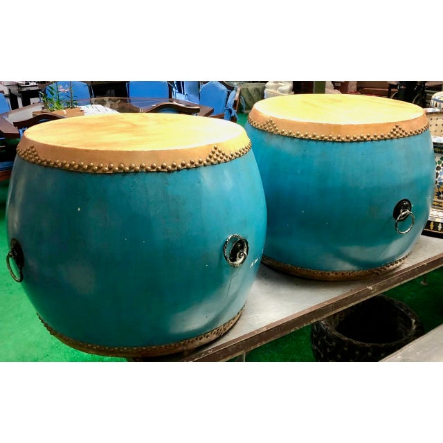 Asian Chinese Turquoise Drums - a Pair For Sale - Image 3 of 6