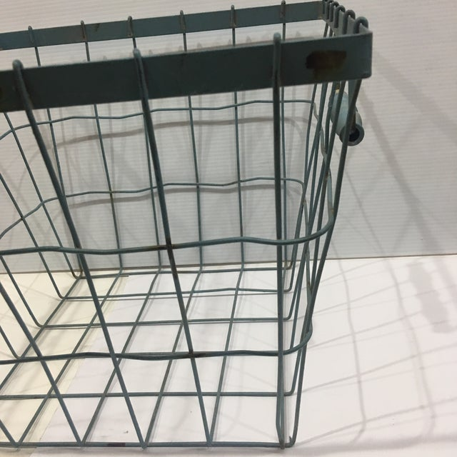 Blue Square Wire Basket with Wood Handles For Sale In New York - Image 6 of 8