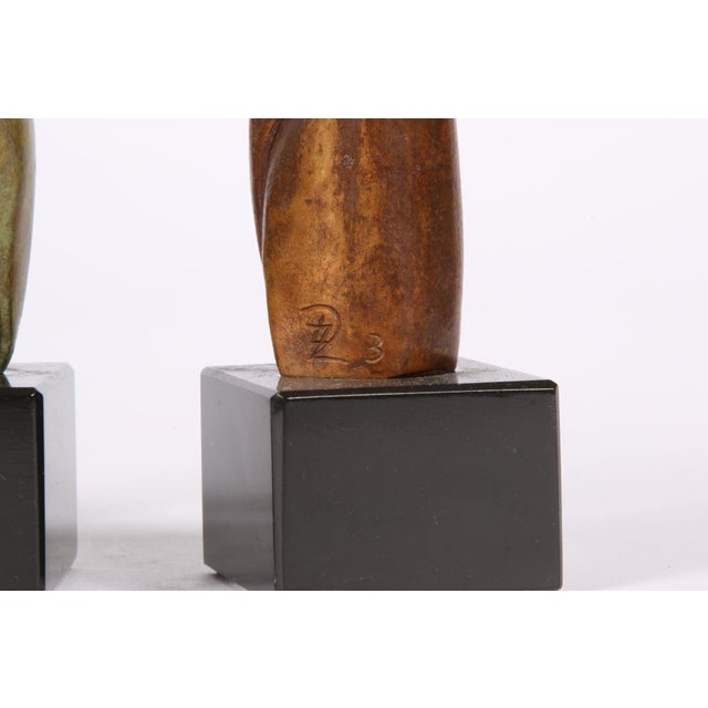 Group of Three Signed Modern Abstract Bronze Figures- in the Manner of Henry Moore For Sale In New York - Image 6 of 7