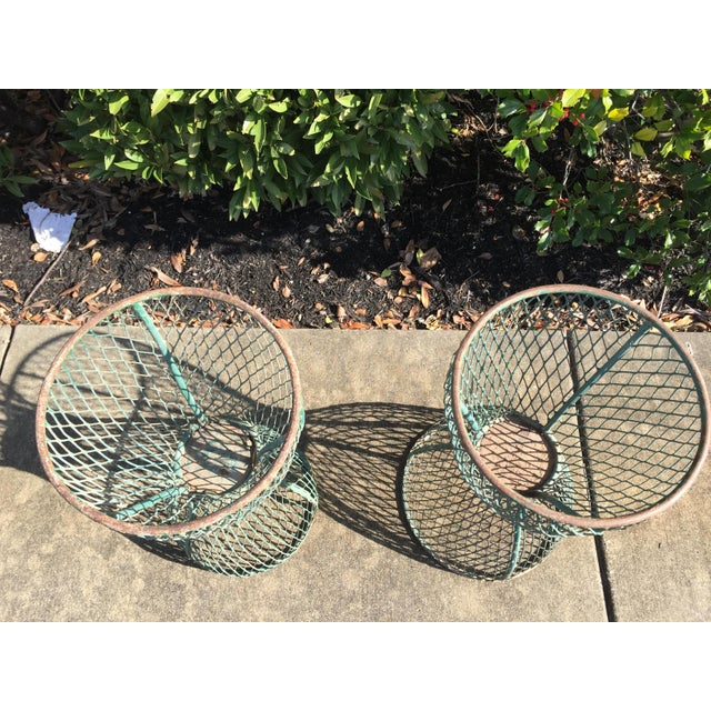 1960s Vintage French Hourglass Wire Planters- A Pair For Sale - Image 4 of 7