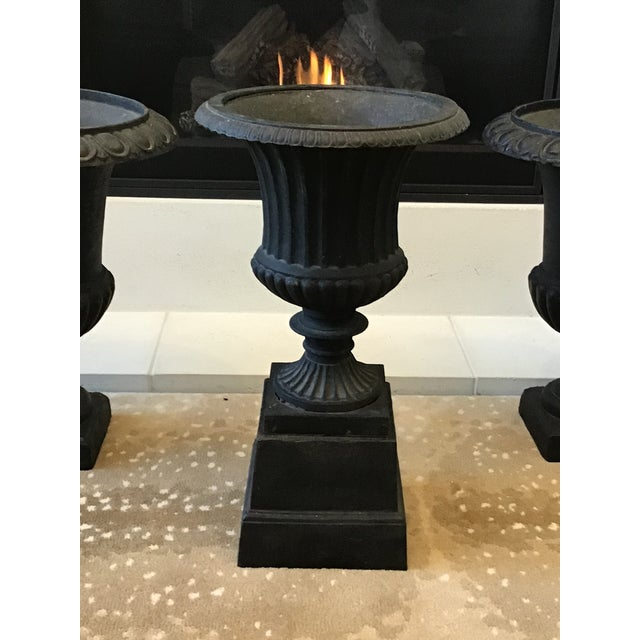 Neoclassical 20th Century French Classical Black Cast Iron Urns - Set of 3 For Sale - Image 3 of 13