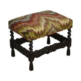 Antique Carved Oak Jacobean Style Small Bench or Stool For Sale