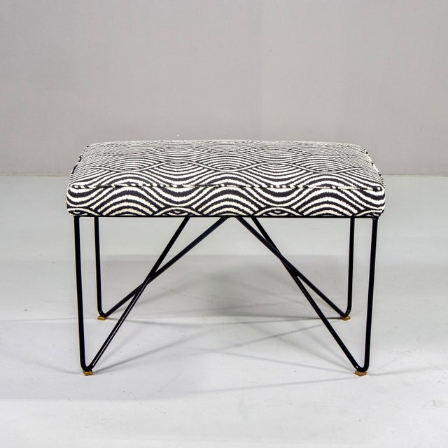 Metal Italian Mid-Century Style Bench With Black Iron Hairpin Legs For Sale - Image 7 of 13