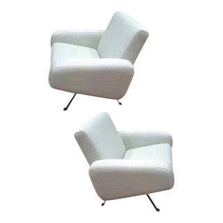 Joseph Andre Motte for Steiner Pair of Lounge Chairs Recovered in Canvas For Sale