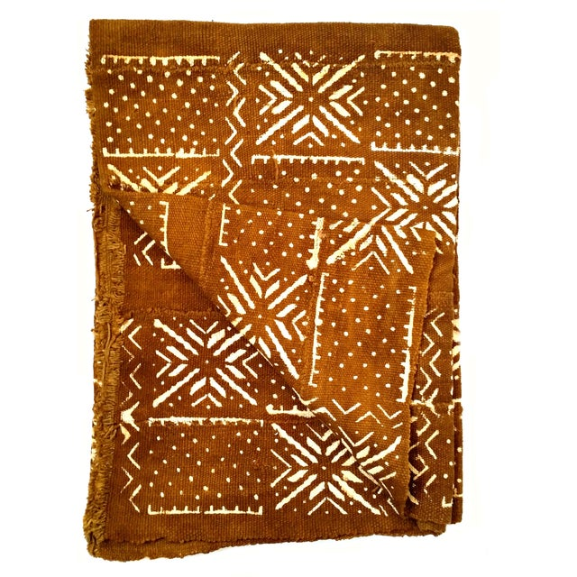 African African MudCloth Brown Rust Textile For Sale - Image 3 of 7