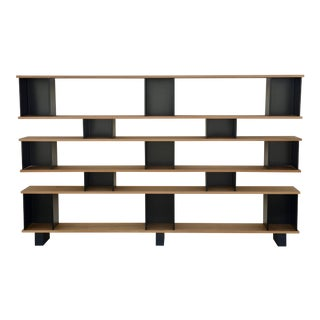 "Design Frères Polished Oak and Matte Black ""Horizontal"" Shelving Unit For Sale"