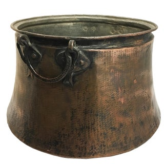 "Antique Hand-Hammered XL Copper Cauldron | 23""h X 28"" W For Sale"
