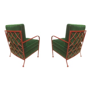 Jean Royère Pair of Croisillon Armchairs in Red Lacquered Wrought Iron For Sale