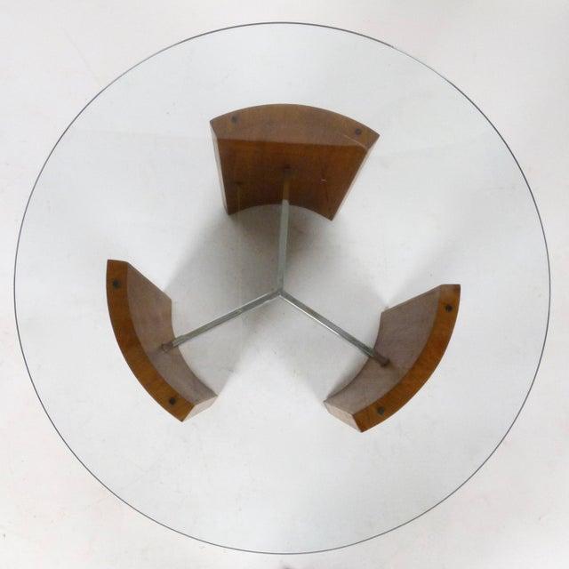 """Pair of 1960s walnut & chrome with glass top """"Radius"""" tables by Vladimir Kagan."""