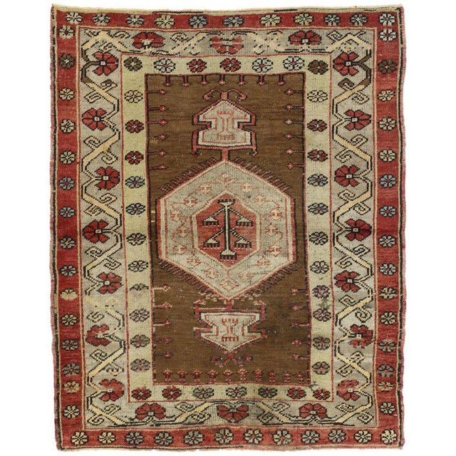 Vintage Turkish Oushak Accent Rug - 3'8 X 4'6 For Sale In Dallas - Image 6 of 6