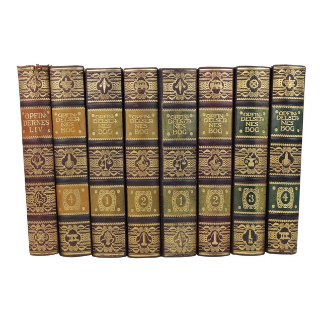 Art Deco Leather-Bound Books - Set of 8 - Image 1 of 4