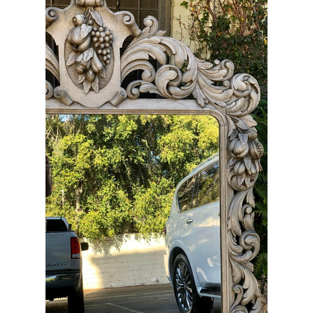 Huge Antique Early 19c Baroque Carved Bleached Oak Mirror