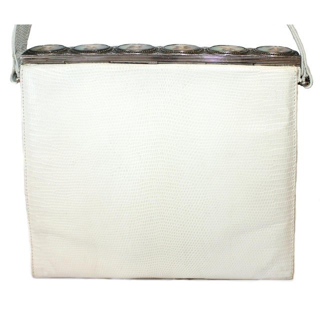1960s 1960s White Lizard Purse With Portrait Frame For Sale - Image 5 of 6