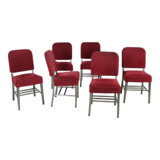 Red Stainless Steel Railroad Dining Chairs - Set of 6