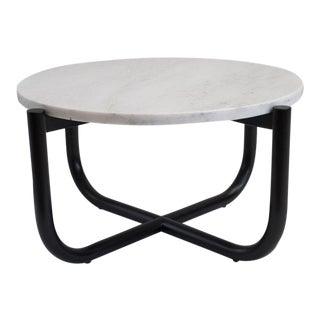 Gathering Side Table in Dyed Maple & Carrara Marble For Sale