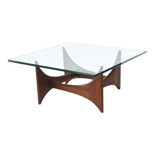American Modern Pair of Walnut and Glass Low Tables by Adrian Pearsall For Sale