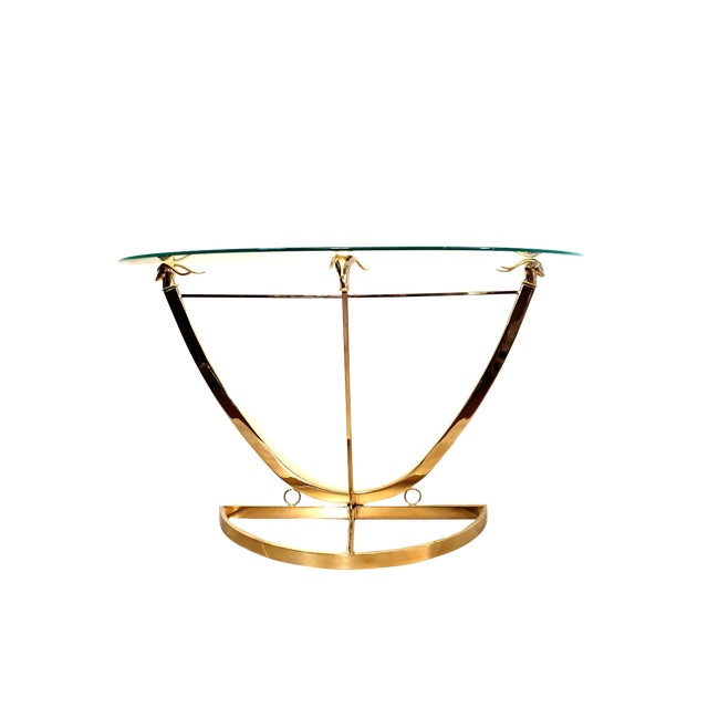 1970s Hollywood Regency Brass Glass Rams Head Console Table For Sale