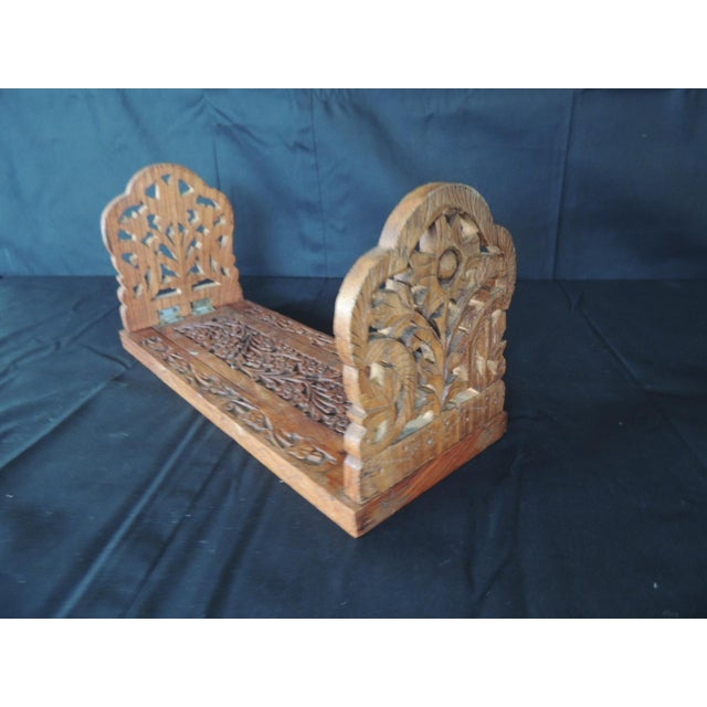 Brown Hand Carved Folding Indian Bookstand or Shelf For Sale - Image 8 of 8