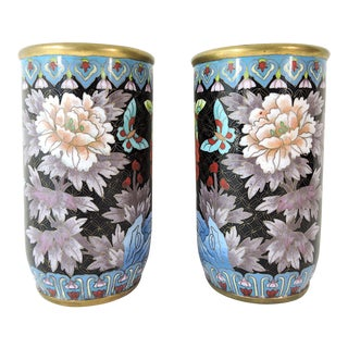 Antique Chinese Cloisonné Opposing Flower & Butterfly Cylindrical Brush Pots / Vases - a Pair For Sale