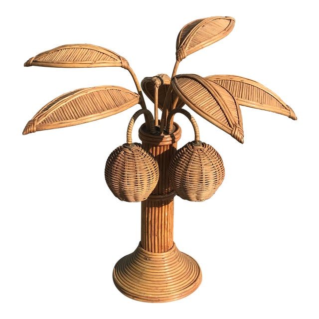 Mario Lopez Torres Rattan Palm Tree Table Lamp For Sale