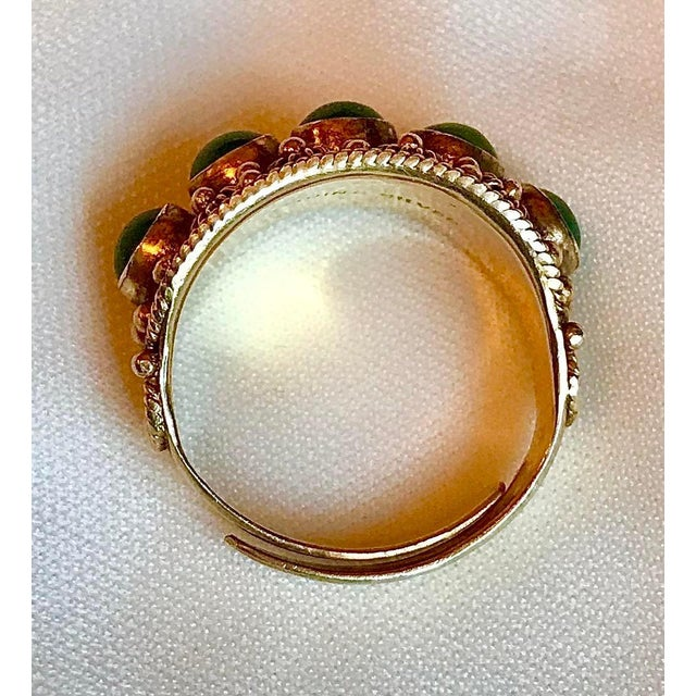 Chinese Gold-Plated Sterling and Jade Ring For Sale In Los Angeles - Image 6 of 8
